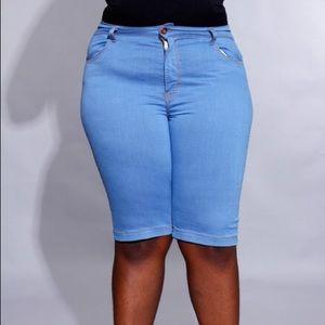 Pants - Stretch Capri/Shorts in Beautiful Baby Blue